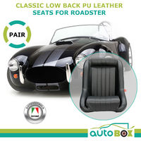 Classic Car Black PU Leather Low Back Sports Bucket Seats Pair w/ Rails Roadster