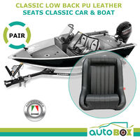 Black PU Leather Low Back Sports Bucket Seats w/ Rails Classic Car or Boat