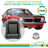 Low Back PU Leather Bucket Seats Fixed Back Black HOLDEN LC LJ GTR TORANA