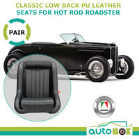 LOW BACK SPORTS RACING SEATS WITH RAILS CLASSIC PU LEATHER ROADSTER HOT ROD CAR