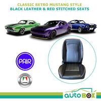 Autotecnica Classic Retro Mustang Style Black with Red Stitching Seat Recline