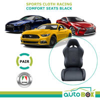 Autotecnica Sports Bucket Seats Pair (2) Black Cloth w/ Racing Harness Slots