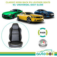 Autotecnica PU Leather Sports Bucket Seats - New with Universal Seat Slide