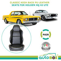 Classic High Back PU Leather Bucket Seat Pair(2) Car Reclinable Holden HQ HJ Ute