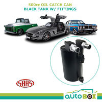 SAAS 500cc Oil Catch Can Aluminium Black Tank With Fittings Mount Kit 10mm 14mm