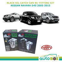 SAAS Black Oil Separator Catch Can for Nissan Navara D40 2.5L YD25 2005-2015