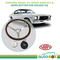 HQ HT Holden Classic Deep Dish 380mm Steering Wheel Woodgrain w/ Boss Kit & Horn