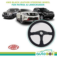 SAAS 4WD Black Leather Steering Wheel 380mm 15 Inch suit Patrol Landcruiser