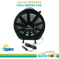 Explore Cool Breeze 12 Volt DC Black Portable Fan Caravan Camper RV Motorhome