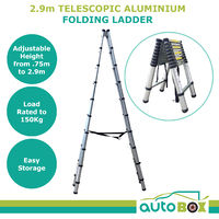 2.9M Telescopic Folding Ladder Steps Caravan Motorhome Home Camping Outdoor