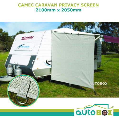 Camec Caravan Privacy Screen End Wall 2100 X 2050 Sun Shade Cloth Rollout Awning