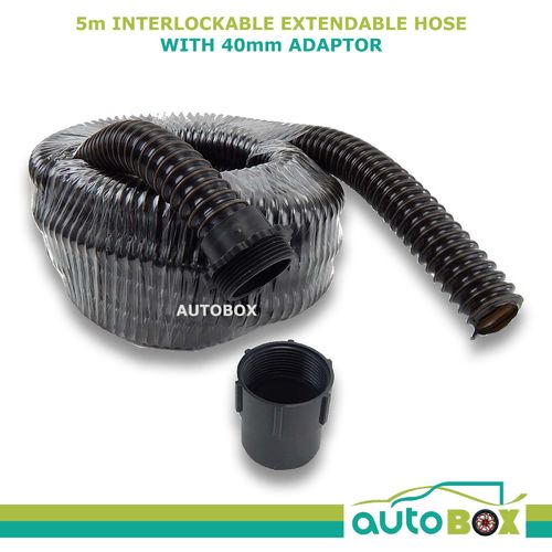 5m Caravan Motorhome Flexible Waste Hose w/ 40mm In-line Adaptor Outdoor Camping