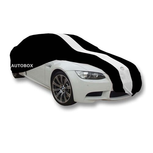 Show Car Indoor Dust Cover 4.5M Medium Black  [Size: 4.5M] [Colour: Black with White Stripes]