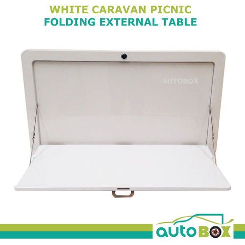 White Caravan Side Picnic Folding External Table Superior Quality 800 x 450mm